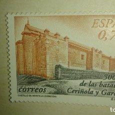 Sellos: SELLO CASTILLO DE MONTILLA. 500 AÑOS BATALLAS CERIÑOLA Y GARELLANO. 2003, NUEVO. . Lote 139829610