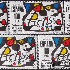 Sellos: EDIFIL 2609, 5 SERIES COMPLETAS EN USADO. PICASSO, MIRÓ. AÑO 1981.. Lote 140463070