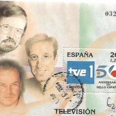 Sellos: ESPAÑA USADO. HOJA BLOQUE, TELEVISIÓN, AÑO 2000. Lote 140502990