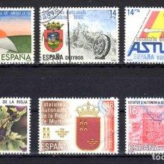 Sellos: ED.. Nº 2686/91 ESTATUTOS DE AUTONOMIA, SERIE COMPLETA EN USADO. Lote 142592166