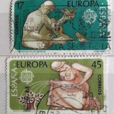 Sellos: ESPAÑA 1986, 2 SELLOS USADOS SERIE EUROPA COMPLETA . Lote 143116590