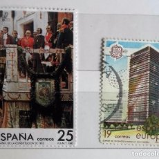 Sellos: ESPAÑA 1987, 2 SELLOS USADOS DIFERENTES . Lote 143116666