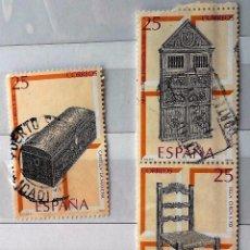 Sellos: ESPAÑA .1991 , 3 SELLOS USADOS ARTESANÍA ESPAÑOLA MUEBLES. . Lote 143117318