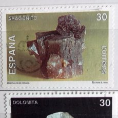 Sellos: ESPAÑA 1995, DOS SELLOS USADOS SERIE MIERALES . Lote 143117462