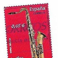 Sellos: SELLO DE ESPAÑA USADO. 2010. EDIFIL 4550, INSTRUMENTOS MUSICALES. SAXO TENOR.. Lote 143738694