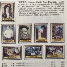 Sellos: AÑO 1978. PABLO RUIZ PICASSO. Nº 2481/88. Lote 143934742
