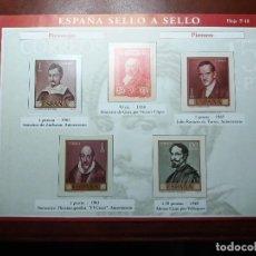 Sellos: HOJA ESPAÑA. SELLO A SELLO. PERSONAJES. Lote 144107590