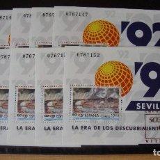 Sellos: ESPAÑA LOTE 10 HOJITAS EXPO 92 EDIFIL -3191 NUEVAS PERFECTAS. Lote 163792544