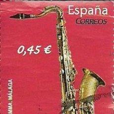 Sellos: SELLO USADO ESPAÑA , SAXOFÓN TENOR EDIFIL 4550 AÑO 2010. Lote 144932114