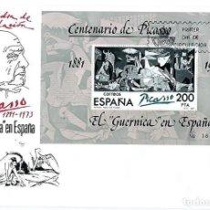 Sellos: ESPAÑA,1981,HOJA BLOQUE EDIFIL 2631, TIPO I, CENTENARIO DE PICASSO,SOBRE PRIMER DÍA. Lote 145242662