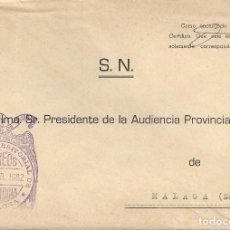 Sellos: CARTA MATASELLO FRANQUICIA PAMPLONA NAVARRA A MALAGA SN AUDIENCIA TERRITORIAL. Lote 145418438