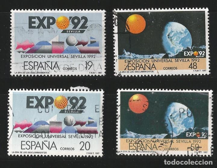 ESPAÑA 1987 - EXPO 92 - SERIE COMPLETA 4 VALORES (Sellos - España - Juan Carlos I - Desde 1.986 a 1.999 - Usados)