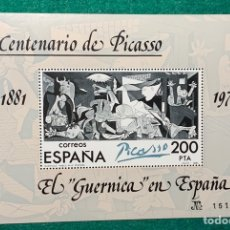 Sellos: AÑO 1981. HB 2631. CENTENARIO DE PICASSO. EL GUERNICA EN ESPAÑA.. Lote 152229549