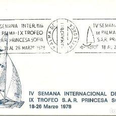 Sellos: SOBRE CANCELADO CON EL IV CENT.SEMANA INT. DE PALMA TROFEO PRINCESA SOFIA. Lote 146150266