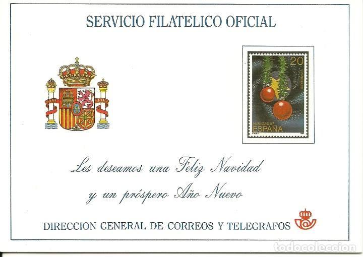 TARJETA ENTERO POSTAL DE FELICITACIÓN DEL SERVICIO FILATELICO DE CORREOS EN EL AÑO 1987 EDIFIL 2925 (Sellos - España - Juan Carlos I - Desde 1.986 a 1.999 - Cartas)