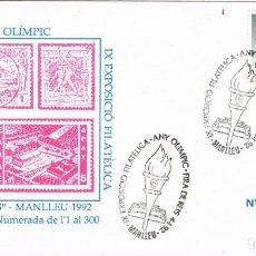 Sellos: 0671. CARTA EXPOSICION MANLLEU (BARCELONA) 1992. AÑO OIIMPICO BARCELONA 92. Lote 147194590