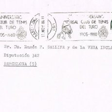 Sellos: 0675. CARTA BARCELONA 1980. RODILLO PUBLICITARIO CLUB DE TENIS TURÓ. Lote 147196110