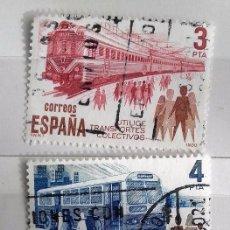Sellos: ESPAÑA 1980, TRES SELLOS USADOS,SERIE COMPLETA, UTILICE TRASPORTES. Lote 147528618