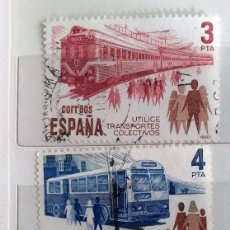 Sellos: ESPAÑA 1980, TRES SELLOS USADOS,SERIE COMPLETA, UTILICE TRASPORTES . Lote 147529222