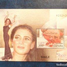 Sellos: SELLO HOJA BLOQUE. EXPOSICIÓN MUNDIAL DE FILATELIA ESPAÑA 2000. BAILE: SARA BARAS. Lote 147535298