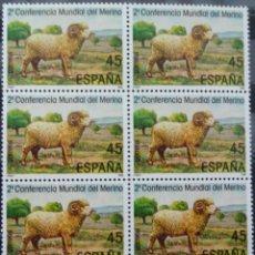 Sellos: II CONFERENCIA MUNDIAL DEL MERINO - 1 BLOQUE DE 6 SELLOS (1 VALOR) - EDIFIL 2839 - AÑO 1986 - NUEVO. Lote 147610550
