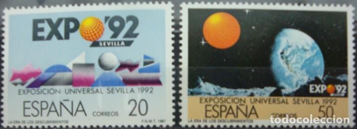 ***EXPO´92*** EXPOSICION DE SEVILLA - 2 SELLOS (2 VALORES) - EDIFIL 2875A-76A- AÑO 1987 (Sellos - España - Juan Carlos I - Desde 1.975 a 1.985 - Nuevos)