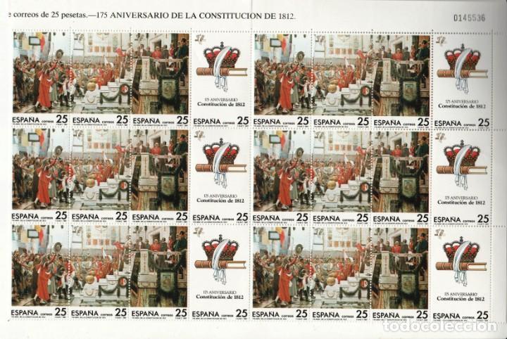 175 ANIVERSARIO CONSTITUCION DE 1812 - 1 BLOQUE DE 24 SELLOS (4 VALORES) - EDIFIL 2887-90- AÑO 1987 (Stamps - Spain - Juan Carlos I - From 1975 to 1985 - New)