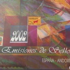 Sellos: EMISIONES SELLOS ESPAÑA Y ANDORRA 2002 OFICUAL CORREOS SELLOS Y ESTUCHES. Lote 148420097