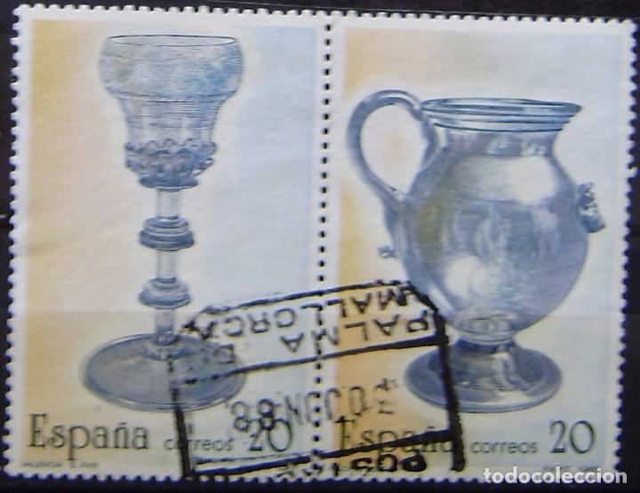 ESPAÑA - EDIFIL Nº 2941 Y 2942 PAREJA UNIDA USADOS - ARTESANIA ESPAÑOLA - VIDRIOS (Sellos - España - Juan Carlos I - Desde 1.986 a 1.999 - Usados)