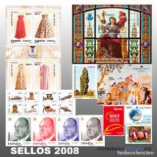 Sellos: ESPAÑA 2008. AÑO COMPLETO CON SELLOS , HOJAS BLOQUE Y CARNETS. POR DEBAJO DE FACIAL. Lote 149862010