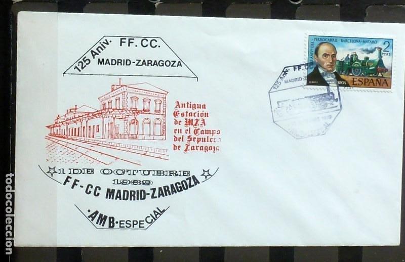 SOBRES ESPAÑA 1989- FOTO 137 - 125 ANIVERSARIO FF.CC MADRID/BARCELONA (Sellos - España - Juan Carlos I - Desde 1.975 a 1.985 - Cartas)
