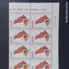 Sellos: DEPORTES, CENTENARIO ATHLETIC CLUB DE BILBAO, 1998 - BLOQUE DE 10 SELLOS, EDIFIL 3530.. A1386. Lote 152419426