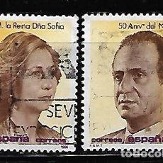 Sellos: SELLO ESPAÑA USADO. 1988. 50 CUMPLEAÑOS REYES JUAN C. Y SOFIA. EDIFIL Nº 2927-28. COMPLETA.. Lote 145368986