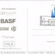 Sellos: 0694. POSTAL BARCELONA 2004. DIA DE LA QUIMICA. COLEGIO QUIMICOS. Lote 155134606