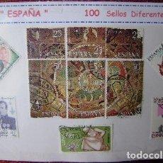 Sellos: ESPAÑA - LOTE 100 SELLOS CONMEMORATIVOS DIFERENTES - USADOS - 2 FOTOS. Lote 155648050