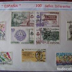 Sellos: ESPAÑA - LOTE 100 SELLOS CONMEMORATIVOS DIFERENTES - USADOS - 2 FOTOS. Lote 155649470