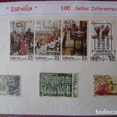 Sellos: ESPAÑA - LOTE 100 SELLOS CONMEMORATIVOS DIFERENTES - USADOS - 2 FOTOS. Lote 155649698