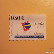 Sellos: ESPAÑA 2002 - EXP. MUNDIAL FILATELIA JUVENIL 2002 - EDIFIL 3877 - SALAMANCA - LOGOTIPO.. Lote 155671514