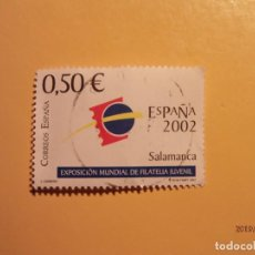 Sellos: ESPAÑA 2002 - EXP. MUNDIAL FILATELIA JUVENIL 2002 - EDIFIL 3877 - SALAMANCA - LOGOTIPO.. Lote 155671690
