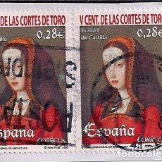 Timbres: FRAGMENTO CON DOS SELLOS CENTENARIO DE LAS CORTES DE TORO. JUANA I DE CASTILLA. 2005. Lote 156900722