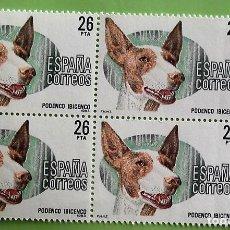 Selos: ESPAÑA. 2713 PERROS DE RAZA: PODENCO IBICENCO, EN BLOQUE DE CUATRO. 1983. SELLOS NUEVOS Y NUMERACIÓN. Lote 158709252