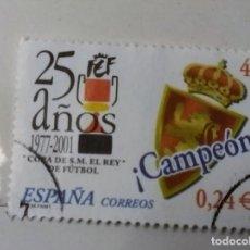 Sellos: ESPAÑA 2001, SELLO 25 AÑOS DE LA COPA DEL REY DE FUTBOL 2001 . Lote 159317034
