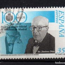 Sellos: ESPAÑA 3543 - AÑO 1998 - CENTENARIO DEL ILUSTRE COLEGIO OFICIAL DE MEDICOS DE MADRID. Lote 234140790