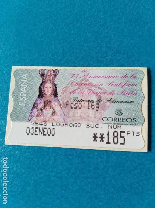 SELLO ETIQUETA DE FRANQUEO CORREOS VIRGEN DE BELÉN PATRONA DE ALMANSA (Sellos - España - Juan Carlos I - Desde 1.986 a 1.999 - Usados)