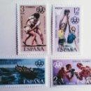 Sellos: ESPAÑA. 2340/43 JJ. OO. MONTREAL: TRAINERAS, BOXEO, LUCHA CANARIA Y BALONCESTO. 1976. SELLOS NUEVOS. Lote 160487858