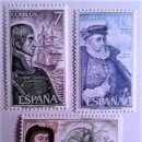 Sellos: ESPAÑA. 2308/10 PERSONAJES: COSME DAMIÁN CHURRUCA, LUIS DE REQUESÉNS Y JUAN SEBASTIÁN ELCANO. 1976. . Lote 160488834