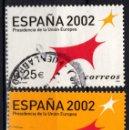 Sellos: ESPAÑA 3865/66 - AÑO 2002 - PRESIDENCIA DE LA UNION EUROPEA. Lote 160626998