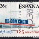 Sellos: ESPAÑA 4012 - AÑO 2003 - 125 ANIVERSARIO DEL DIARIO EL COMERCIO. Lote 160681978