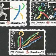 Sellos: ESPAÑA 1989 - ES 3025 A 3027 - PRE-OLIMPICA BARCELONA 92 - SERIE NUEVA. Lote 162926890