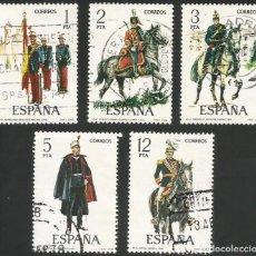 Sellos: ESPAÑA 1978 - ES 2451 A 2455 - UNIFORMES MILITARES (IX) - SERIE USADA. Lote 162959642